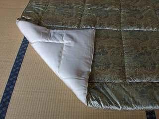 ダブル肌掛け ブルー(アウトレット)高級エアリンシルク絹わた掛け布団のサムネール画像